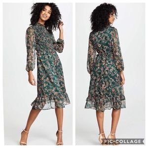 Moon River | Green Floral Ruffled Midi Dress